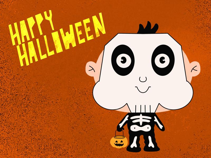 Halloween Kids hand drawn procreate skull skull boy spooky kawaii illustration halloween party halloween design halloween design cartoon art