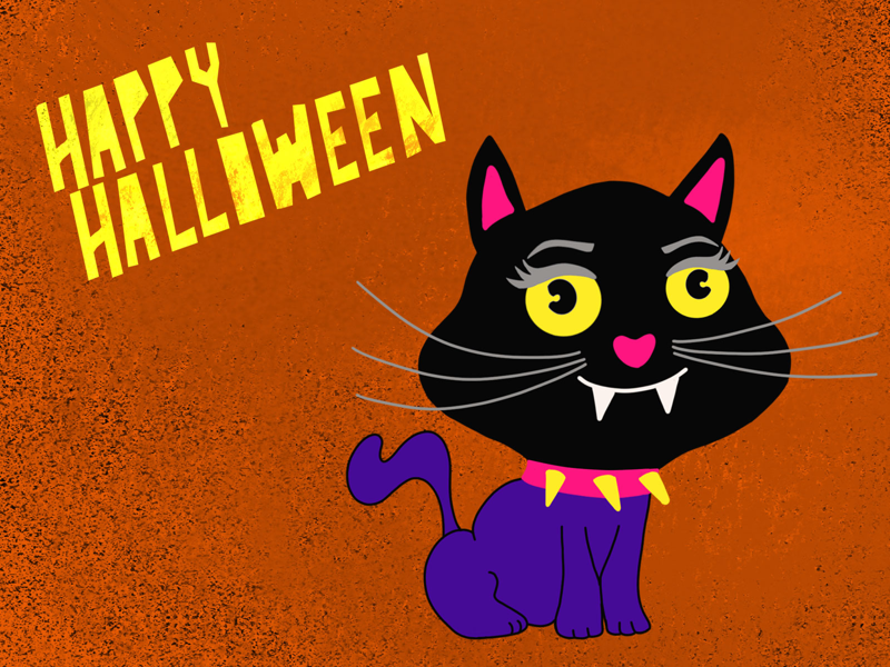 Halloween kids cute kids spooky procreate kawaii illustration hand drawn scrapbook halloween party black cat cat halloween design cartoon art