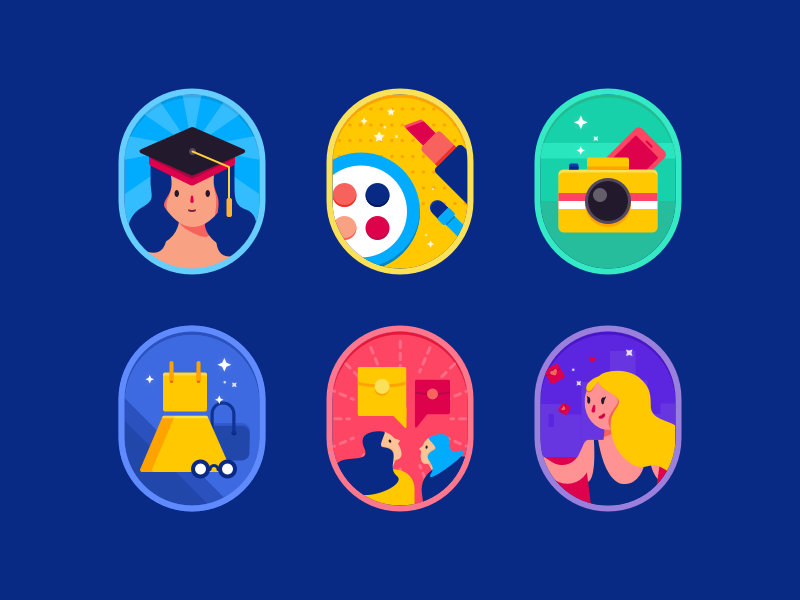 Some Badges chat badge well-read makeup cellphone red packet girl skirt camera icon illustration design