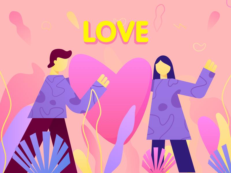 Love art boy love plant girl illustration design
