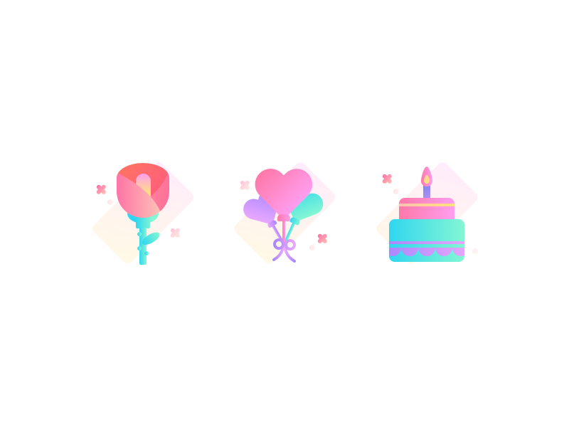 Gift cake balloon flower art illustration design