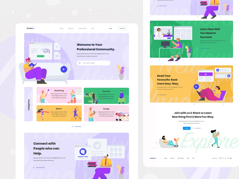 Readpro web exploration v4 website ux userinterface illustraion learning platform online learning online course homepage trend grid layout clean landing page interface visual concept minimal exploration ui web
