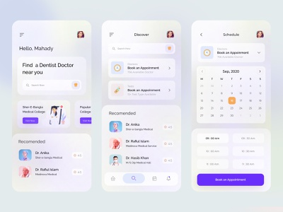 Dental doctor app exploration 🦷 medical product design medical design hospital health app dental clinic trending gradient ux clean exploration concept interface visual minimal doctor appointment doctor ui app