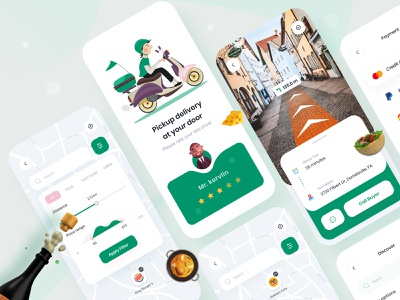 food delivery app 🥘 (location filter + direction+ rating)) mobile app design ux restaurant app trending layout visual interface product design minimal profile page food service food delivery app 3d map ui filter ui direction explosion ui food app