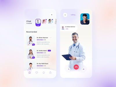 Doctor app v2 (call + Rating) mobile ui patient app find doctor call doctor appointment ux doctor gradient colorful interface visual exploration ui minimal healthcare health medical hospital app product design app