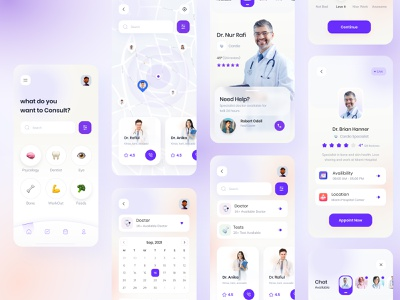 Doctor app exploration v2 patient app map profile medical healthcare health app product design ux gradient colorful doctor appointment find doctor doctor app trending visual minimal interface exploration ui app
