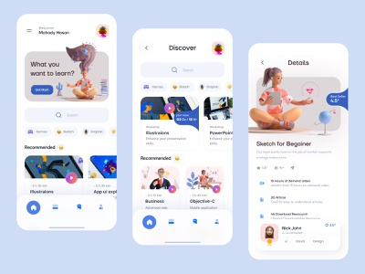 Online Learning class courses product design mobile ui trending 3d layout visual minimal interface skillshare learning platform learning app online learning education app education uidesign ux ui app