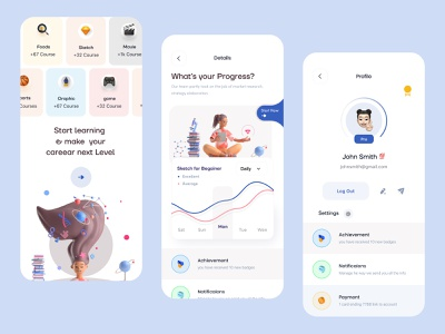 Online learning (Onboarding + Profile + Progress) app ui ux uidesign education education app online learning learning app learning platform skillshare interface minimal visual layout 3d trending mobile ui product design course class