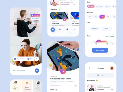 online learning (courses+filter+online class+support ) gradient class course mobile ui trending 3d layout visual minimal interface skillshare learning platform learning app online learning education app education ui design ux ui app