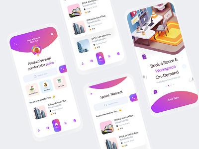CoSpace app typeface ux clean concept layout minimal interface visual event exploration ui find trending 3d mobile ui app gradient workspace