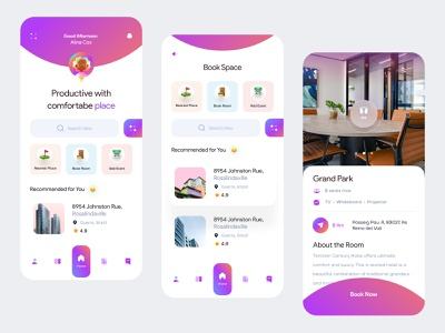 Cospace app (home+search+room details) user experience ui design typogaphy gradient book now 360 view workspace cospace booking 3d clean concept layout visual interface ux minimal exploration ui app