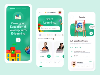 Online learning v2 (onboarding + Home + Details) skillshare colour typography ux ui education education app interface visual 3d trending mobile ui product design class course app learning platform learning app learning online