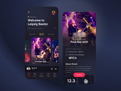 Music Event App clean ui 3d application typogaphy details product design ios mobile ui ux gradient ui interface visual minimal dark ui dark music event music player event music app