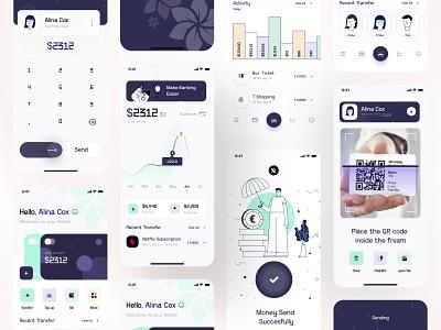 wallet app ios trending flatdesign exploration concept layout minimal illustration fintech finance interface visual analytics scan wallet mobile ui ux ui app statistics