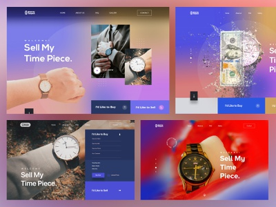 Time piece header Exploration graphicdesign interaction exploration typogaphy product design ux minimal buy interface ui visual trending colors gradient ecommerce watch landing page website homepage web