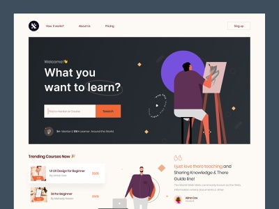 Learning Platform web exploration product design colors app ux education mentor online course clean layout interface visual trending learning app learning platform online learning illustration landing page exploration ui web