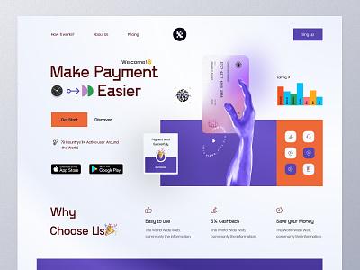 Finance web Landing wallet colors layout website fintech bank minimal ux interface visual typogaphy product design card bank app 3d banking finance landing ui web