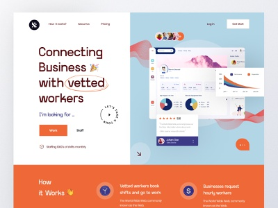 Hiring platform web product design hiring platform dashboard ui ux 3d color typogaphy hiring hire trending grid clean layout interface visual graphic landing minimal ui web