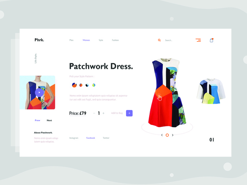 Minimal E-commerce web Exploration v4 typography store homepage clean layout landing page model trend visual minimal ui shop product interface grid dress concept e-commerce web fashion