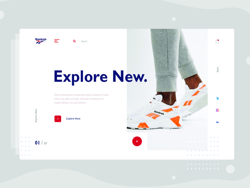 Minimal E-commerce shop Exploration v5 adidas uinugget landing homepage shop store product reebok fashion ecommerce typography layout web visual ui interface minimal shoes concept clean