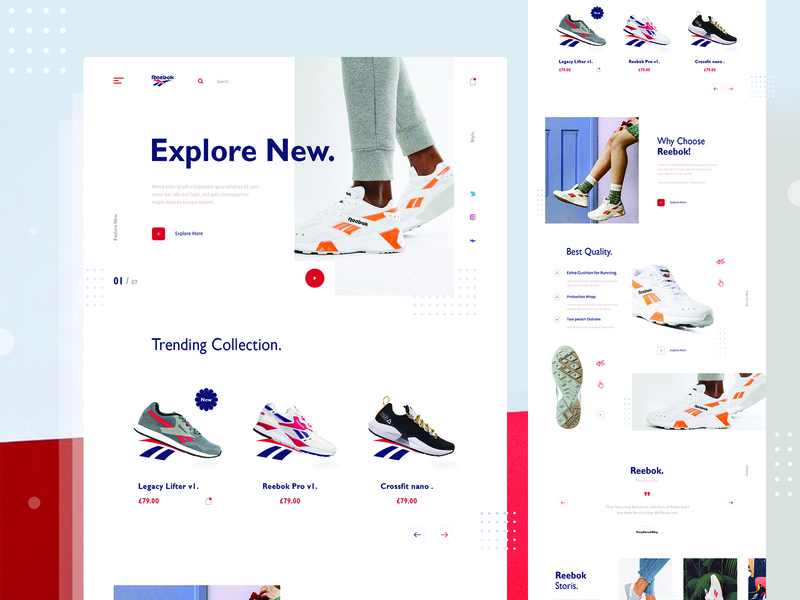 Reebok Landing Page Exploration landing page trending uinugget store shop product reebok ui web grid layout homepage ecommerce fashion shoes visual interface minimal concept clean