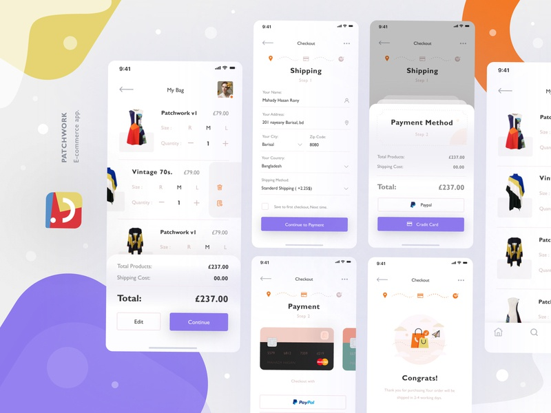 Patchwork (Add to cart + Payment) clean ui ux ecommerce app uinugget trending store product application ui add to cart payment shopping app shop concept visual interface minimal exploration ui app ecommerce