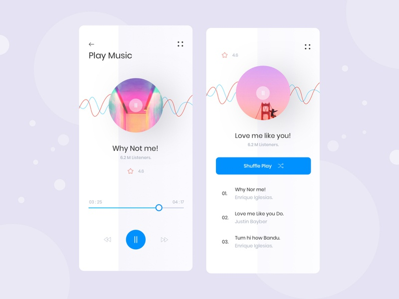 Music app ui Exploration trending layout ux concept visual interface mobile music player music minimal clean artist music app ui app
