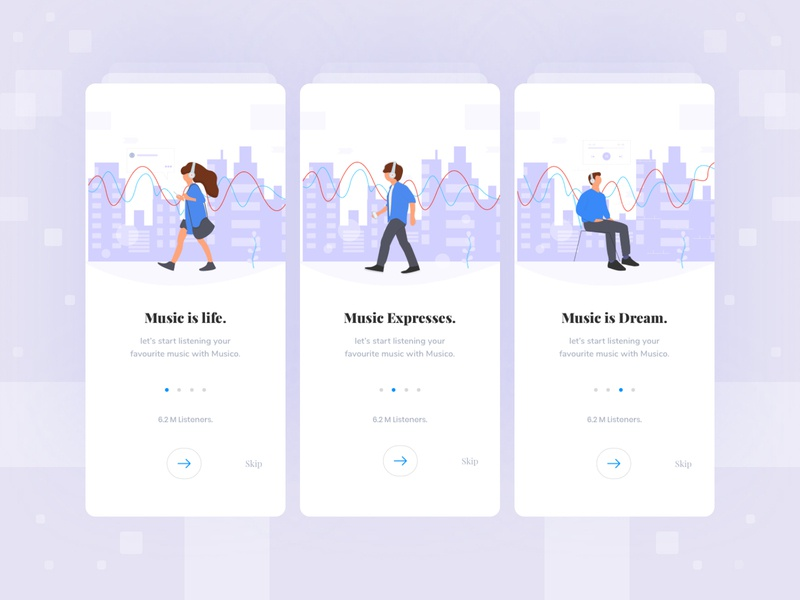 Music app onboarding screen exploration welcome typogaphy ios web mobile ui clean layout music app music userinterface onboarding illustration illustraion walkthrough onboarding concept visual interface ui app minimal