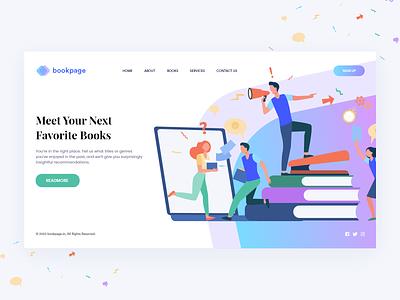 Bookpage Website minimalist illustration apps web behance colors design minimal interface ux ui