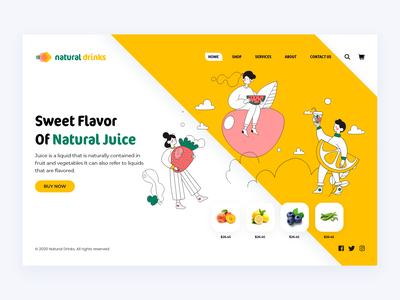 Natural Drinks Web Interface illustrator behance colors juice bar cool drinks natural juice website web interface minimal dribbble ux ui
