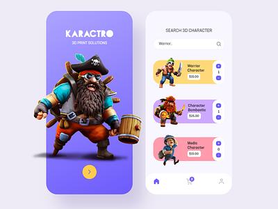 Karactro App india android ios interface dribbble minimalist minimal gamingui ux uiux 3d