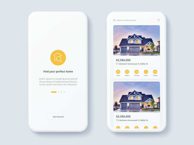 Real Estate App ux ui sell estate real property listing iphone ios form details android