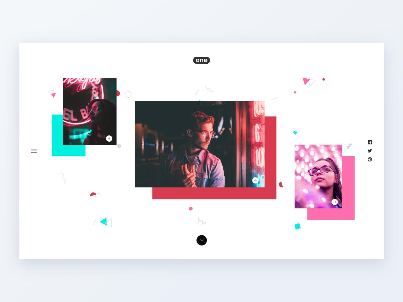 One | Minimal Portfolio minimal minimalism twitter uplabs behance club night light photography portfolio colors dribbble apps interface web ux ui