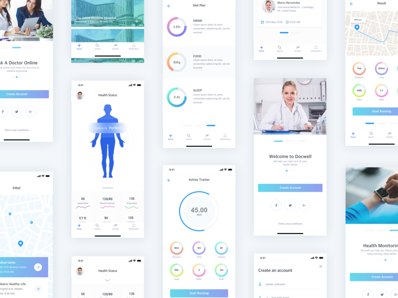DocWell App - iOS andriod ios ux colors dribbble interface apps minimal uikit uiux ui health medical doctor app doctor