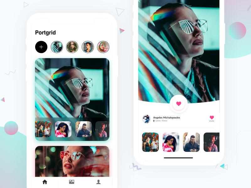 Portgrid - Photo App socialnetwork socialmedia instagram portfolio design minimal colors dribbble interface app ios ux ui
