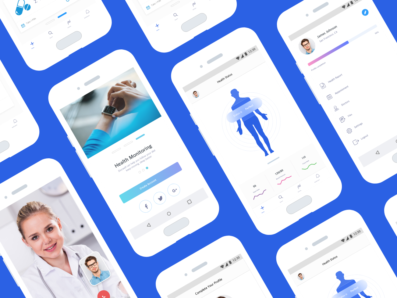 Docwell App Android ios colors minimal medical health dribbble interface app apps design ux ui