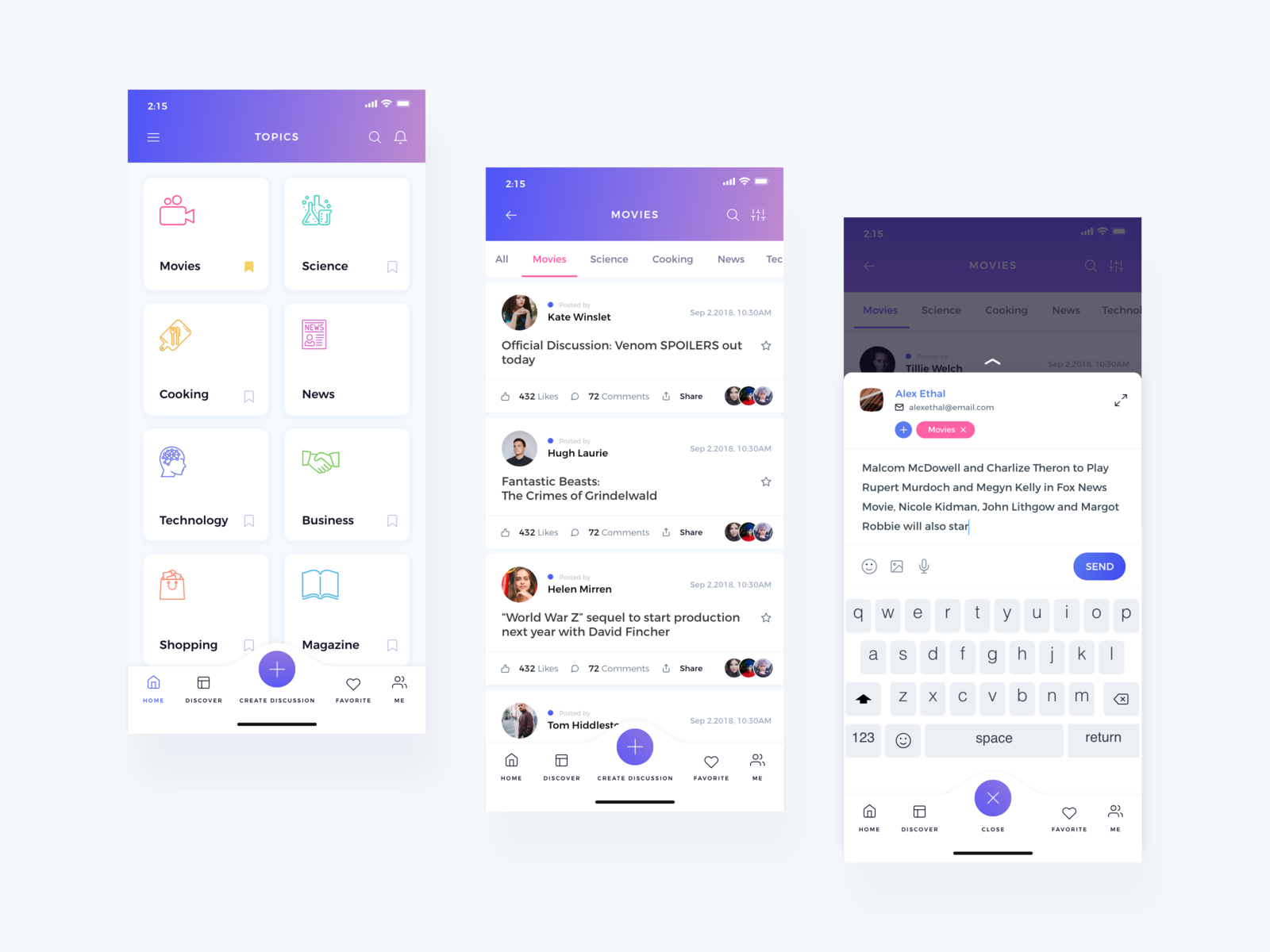 Discussion App cooking books movies news interface design channel vector colors illustration behance design minimal apps interface dribbble app ios ux ui discussion