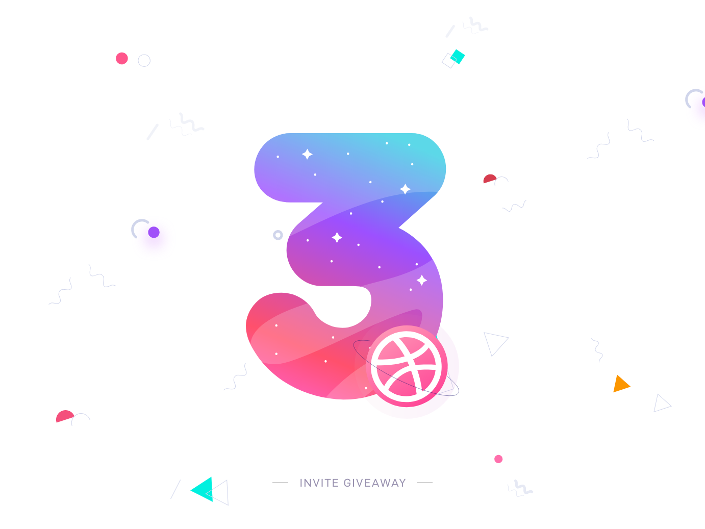 3 Dribbble Invites interface ios typography vector illustration design colors apps minimal giveaway 3 invitation ux ui dribbble invite