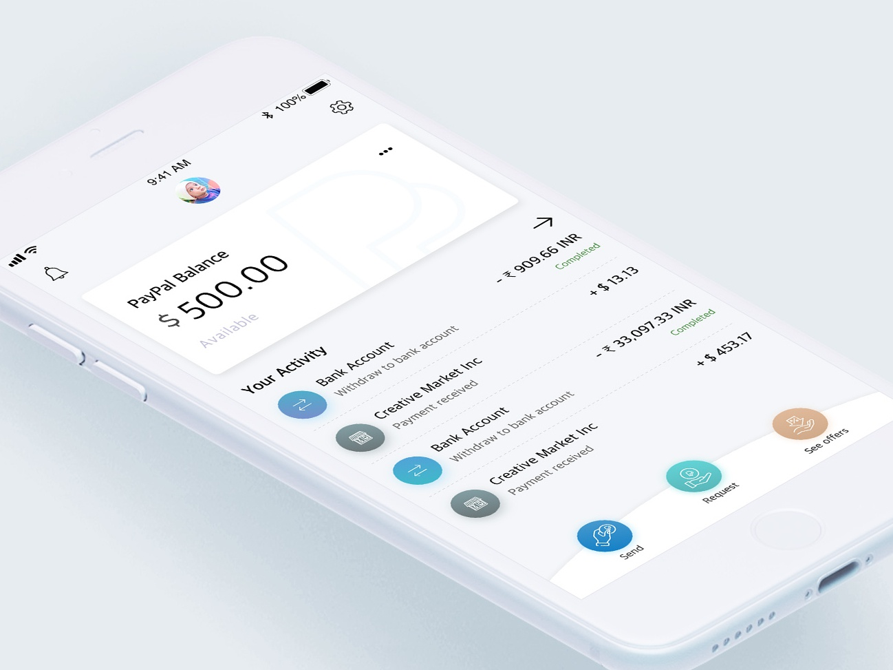 PayPal UI Concept apps icon illustration behance banking app payment app pay bank paypal design colors minimal interface dribbble app ios ux ui