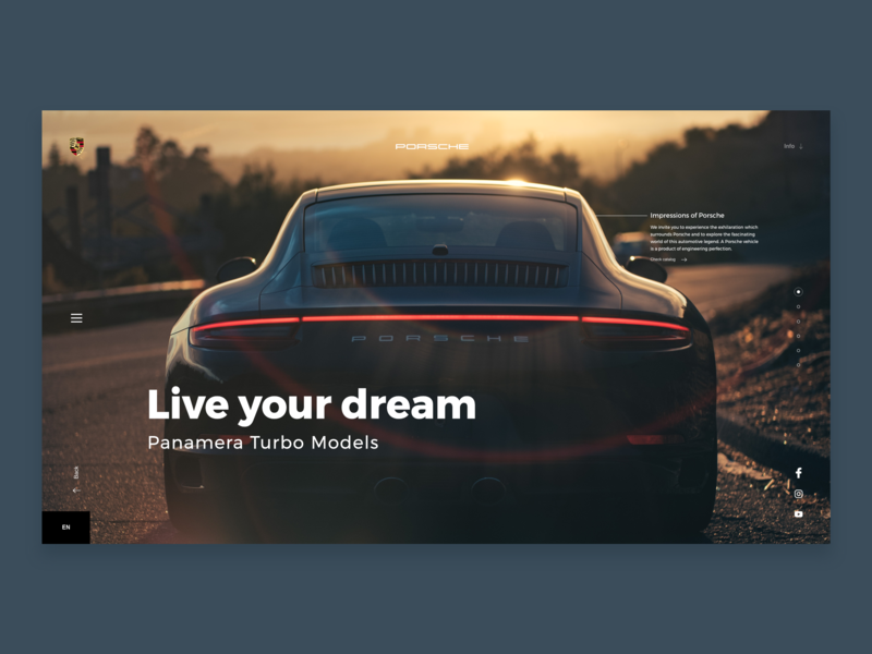 Porsche - Web Interface landing page website sportscar cars porsche design illustration behance web colors interface minimal dribbble ux ui