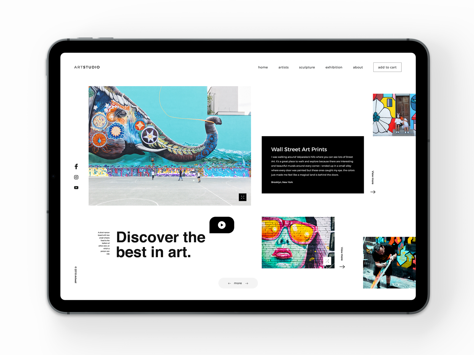 Art Studio - iPad Pro artgallery studio buy sell artist art ipad ipadpro vector typography illustration behance web colors design minimal interface dribbble ux ui