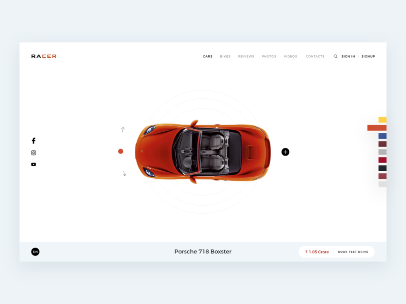 Racer - Web Interface branding typography vector design behance illustration colors apps interface minimal dribbble ux ui