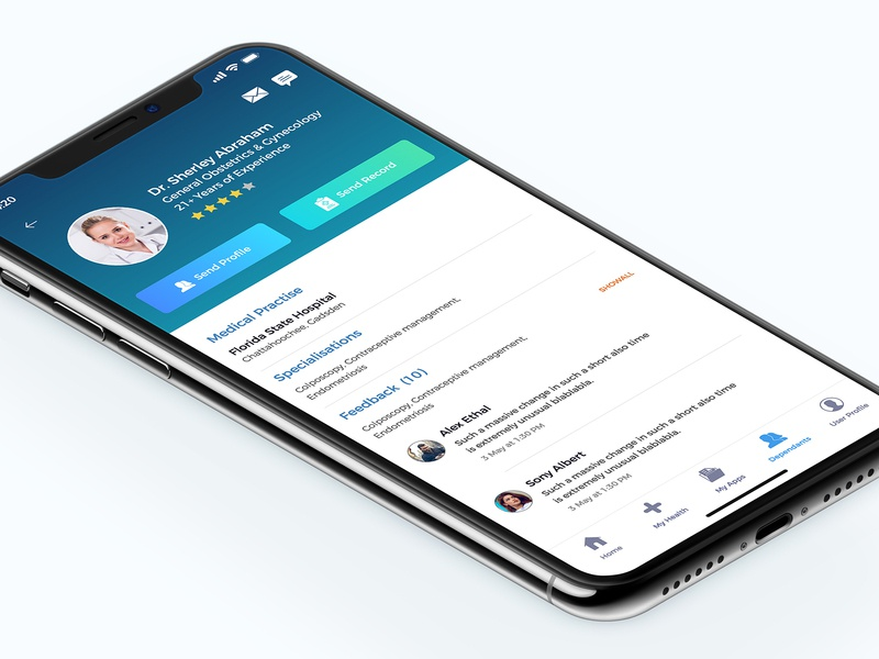 Doctor Profile profile doctor health medical behance apps colors design minimal app interface dribbble ios ux ui