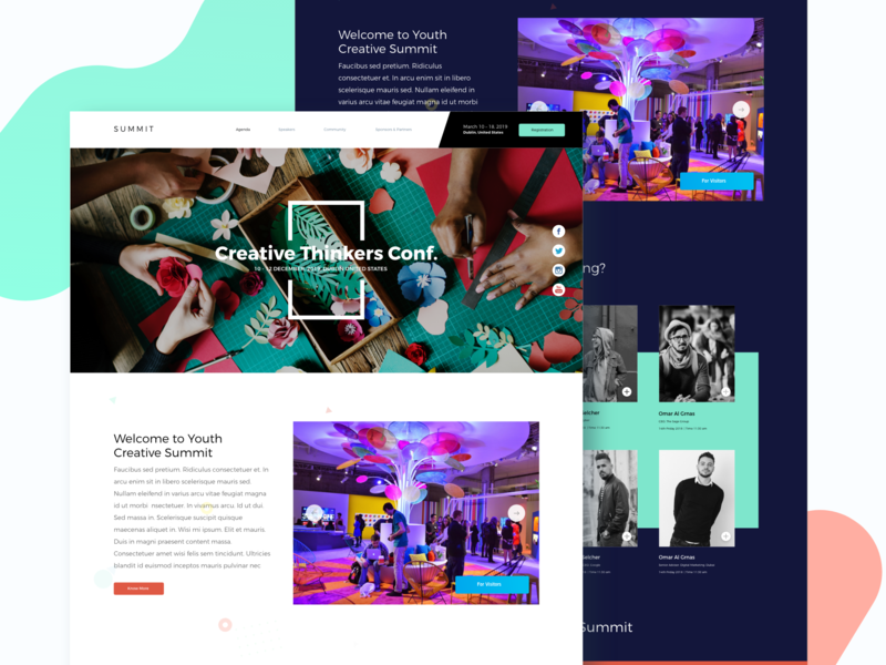 Creative Thinkers Conf. 2019 - Web Interface branding flat vector conference summit website typography illustration behance web colors design minimal interface dribbble ux ui