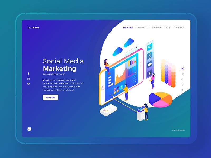 Marketo Web Interface marketing socialmediamarketing flat web website typography vector illustration behance colors design minimal interface dribbble ux ui
