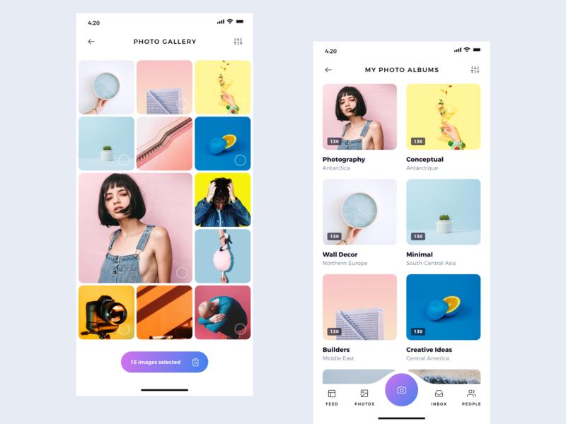 Photo Album flat illustration behance apps colors design minimal interface dribbble ios ux ui