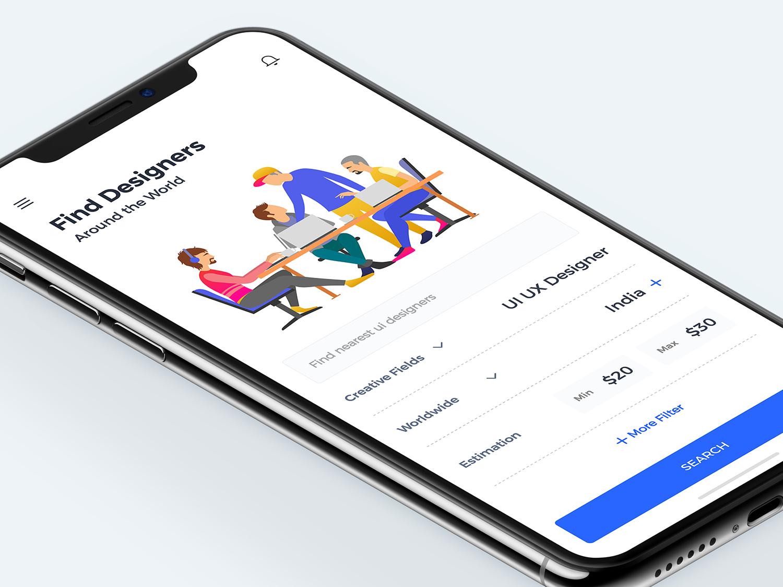 Find Designers designer for hire colors behance app design minimal interface dribbble ios ux finder ui  ux design ui designer find