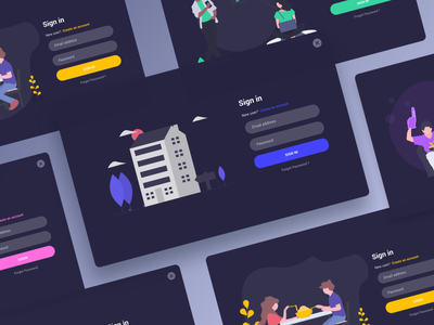 Sign In - Screens Dark Mode apps behance darkmode sigin colors design minimal interface dribbble ux ui