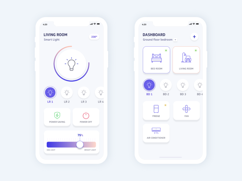 Smart Home - IOT apps dribbble interface colors behance design minimal smarthome smartdevice ux ui
