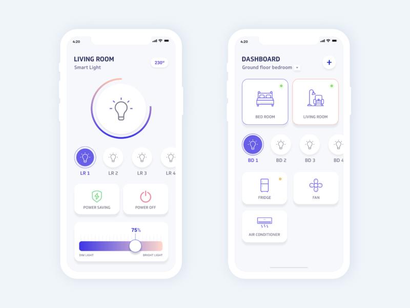 Smart Home - IOT apps dribbble interface colors behance design minimal smarthome smartdevice ux ui